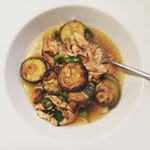 Bone broth with courgettes, leftover chicken and giant cous cous